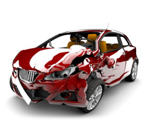 Car damaged in accident